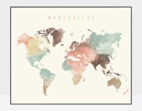 World map poster wanderlust pastel cream photo