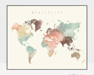 World map poster wanderlust pastel cream photo