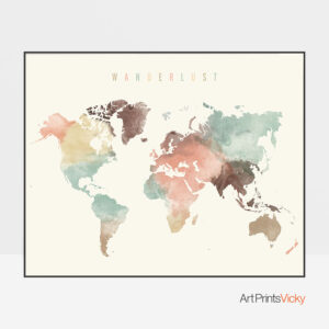 World Map Wanderlust Pastel Cream Poster