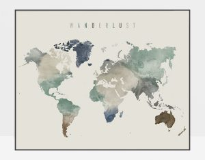 World Map Wanderlust Earth Tones 1 Poster