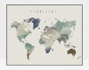 World map poster wanderlust earth tones 1