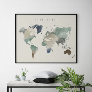 World map poster wanderlust earth tones 1 second