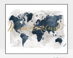 World map art wanderlust gold blue grey