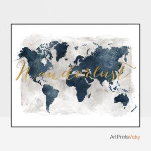 World Map Wanderlust Gold Blue Grey Print