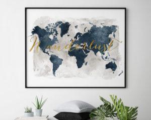 World map art wanderlust gold blue grey second