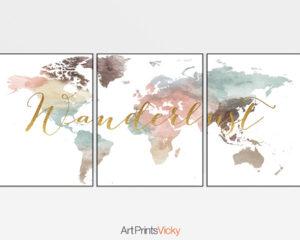 Wanderlust world map pastel 3 piece wall art