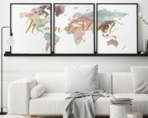 Wanderlust world map pastel 3 piece wall art second