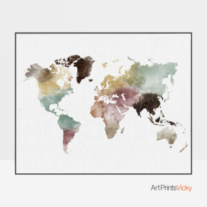 World Map Watercolor 1 Print