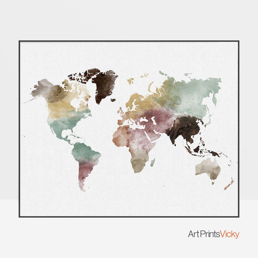 World Map Watercolor 1 Print