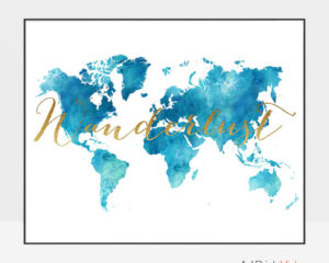 World map watercolor aqua wanderlust