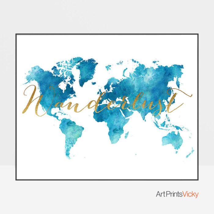 World Map Watercolor Aqua Wanderlust Art