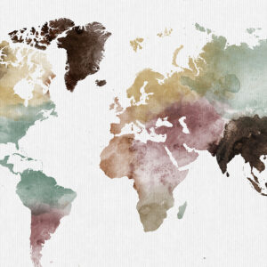 World map watercolor 1 detail