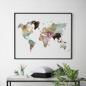 World map print watercolor 1 second