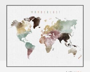 Wanderlust world map poster watercolor 1