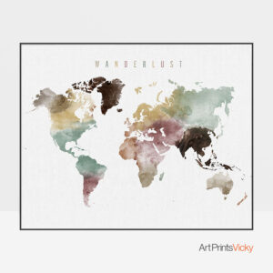Wanderlust World Map Watercolor 1 Poster