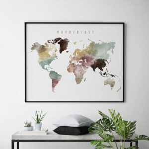Wanderlust world map poster watercolor 1 second
