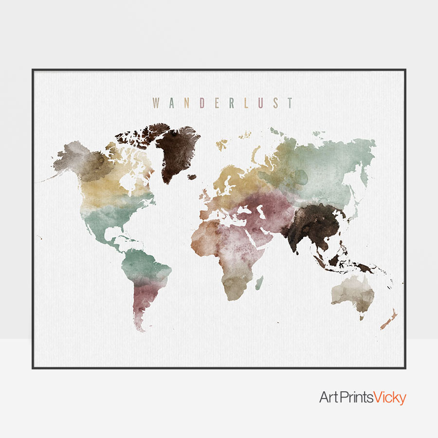 Wanderlust world map poster watercolor 1 artprintsvicky wanderlust world map poster watercolor 1 gumiabroncs Choice Image