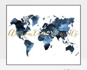 World map poster adventure awaits blue