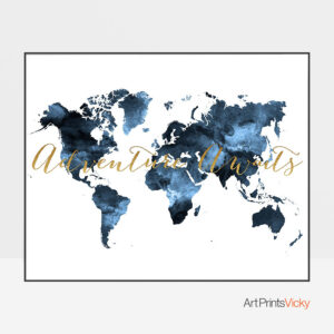 World Map Adventure Awaits Blue Poster