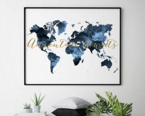World map poster adventure awaits blue second