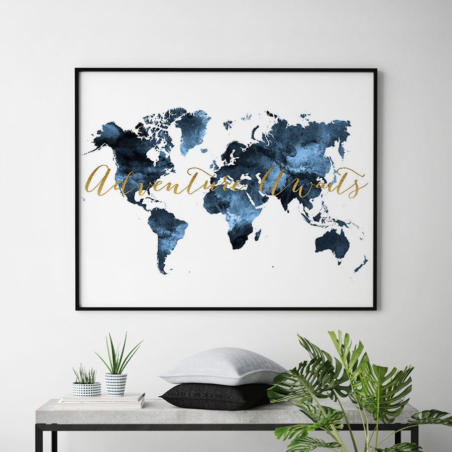 World map poster adventure awaits blue second