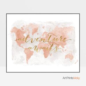 World Map Adventure Awaits Blush Poster