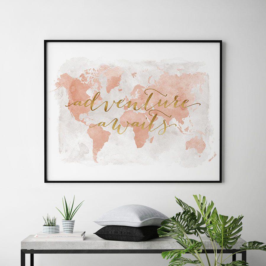 World map poster adventure awaits blush