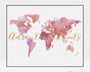 World map art adventure awaits pink