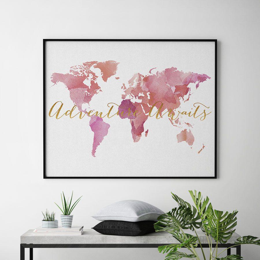 World map art adventure awaits pink second