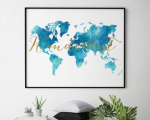 World map watercolor aqua wanderlust second