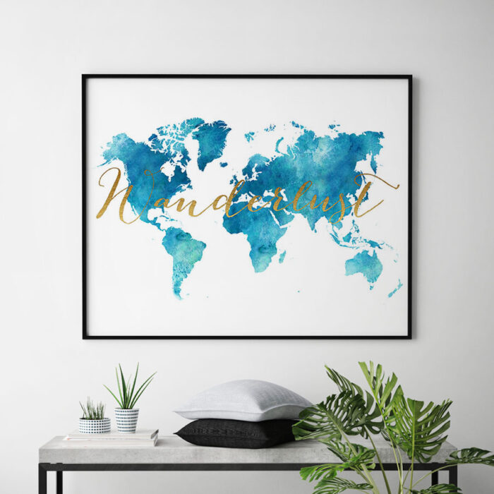 World map watercolor aqua wanderlust second