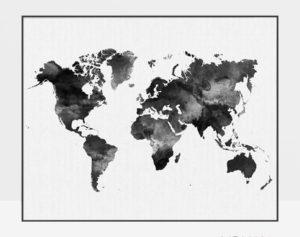 World map black and white print
