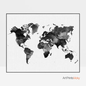 World Map Black And White Print