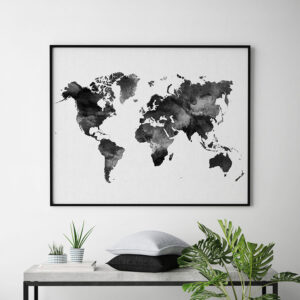 World map black and white print second
