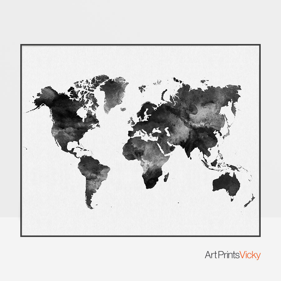 World map black and white print art prints vicky
