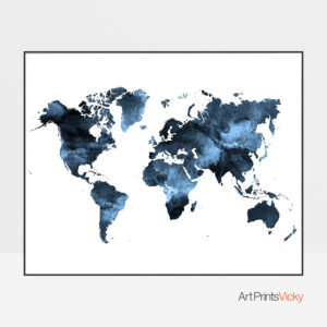 Navy blue world map poster