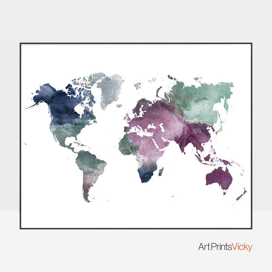 World map watercolor blue green purple