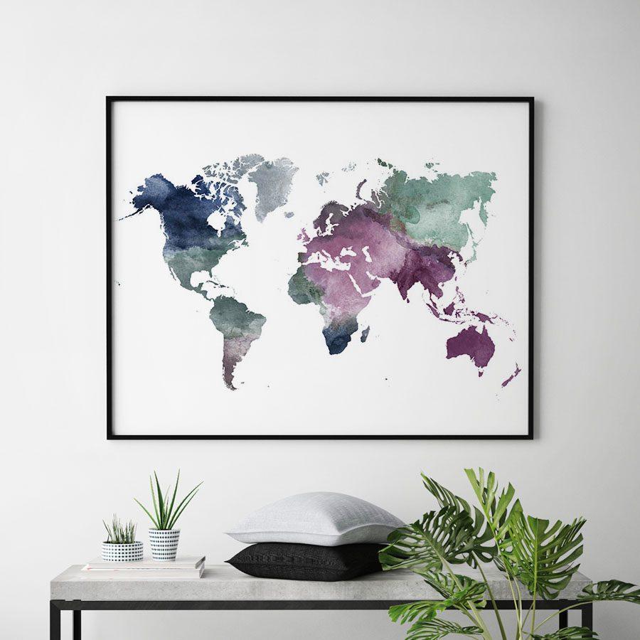 World map watercolor blue green purple second