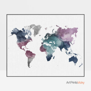 World map watercolor artwork