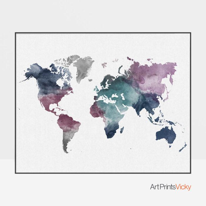 World map watercolor artwork