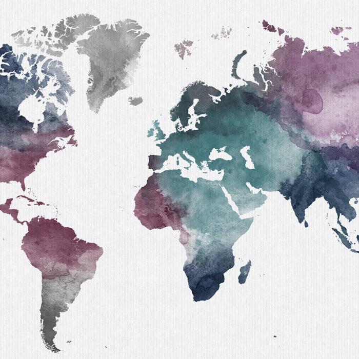 World map watercolor artwork detail