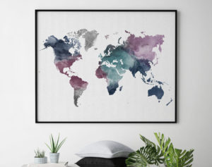 World map watercolor artwork second