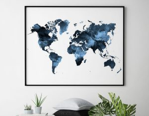 Navy blue world map poster second