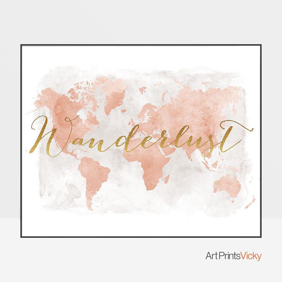 Wanderlust map of the world blush