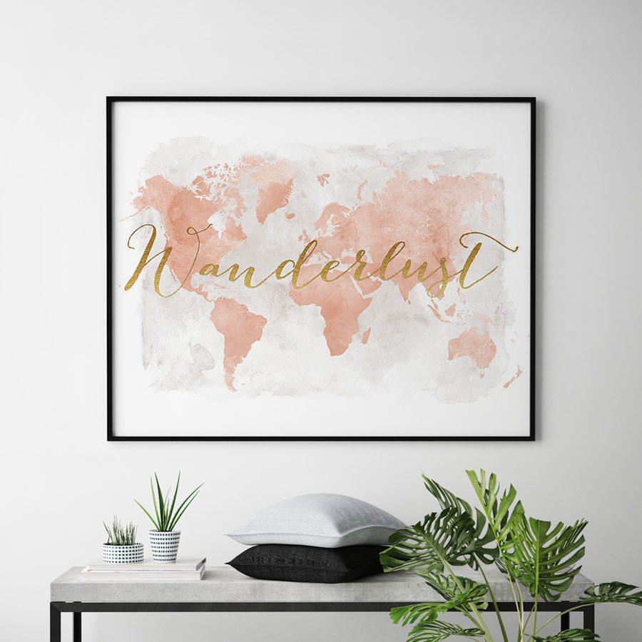 Wanderlust map of the world blush second