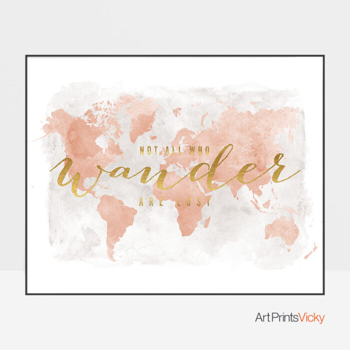 World map watercolor blush who wander