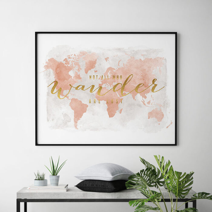 World map watercolor blush who wander second