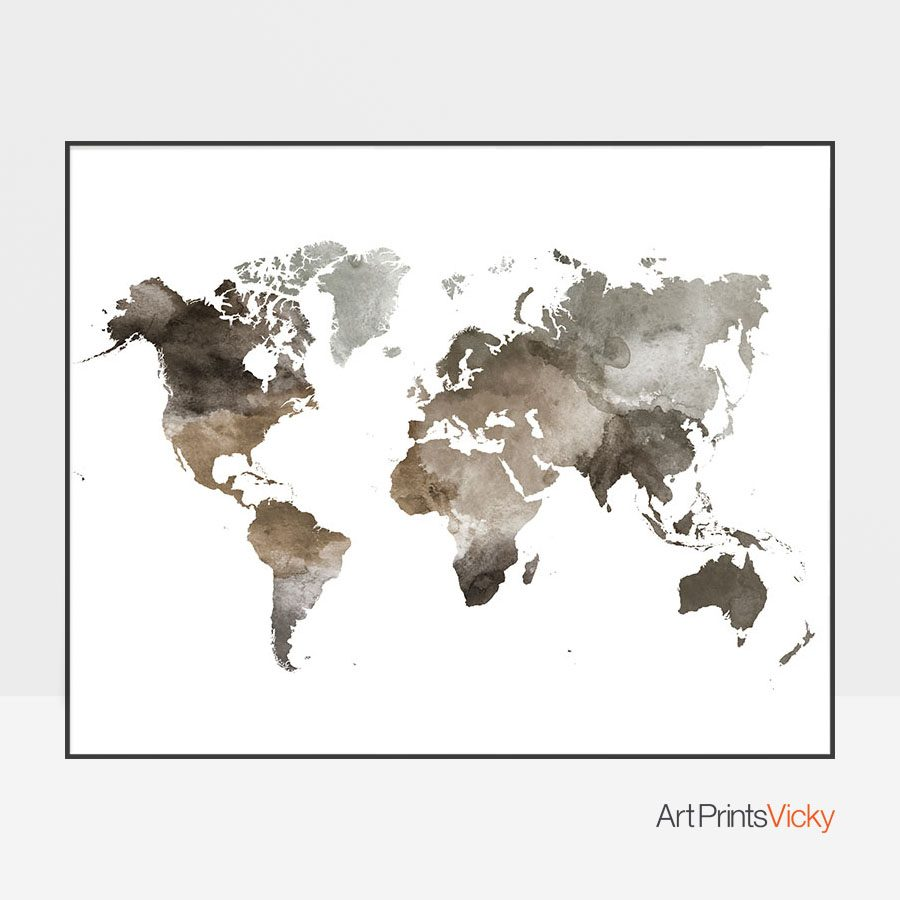 World map watercolor brown