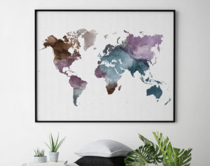 Watercolor world map poster second