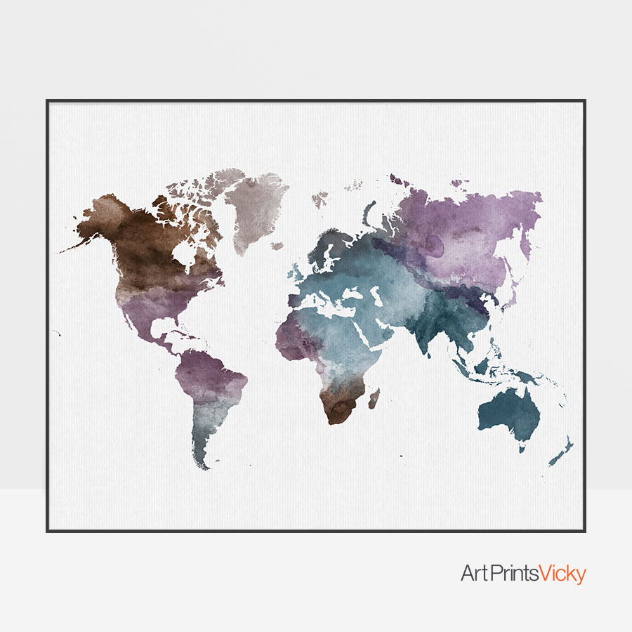 Watercolor world map poster artprintsvicky gumiabroncs Choice Image